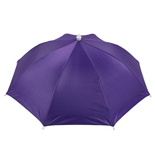 sourcingmap Schirm Kopf Polyester 8 Rippen Angeln Sonner Regen Kopfbedeckung Regenschirm Hut Cap Lila DE