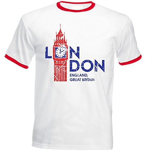 teesquare1st Men's London United Kingdom Red Ringer T-Shirt