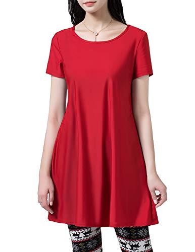 HomRain Damen Casual Langes Shirt Lose Tunika Kurzarm T-Shirt Kleid Red L