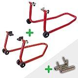 PACK Caballetes de moto DELANTERO + TRASERO + ADAPTADOR DIABOLOS elevadores/soporte universales para Motocicletas RZ TOOLS