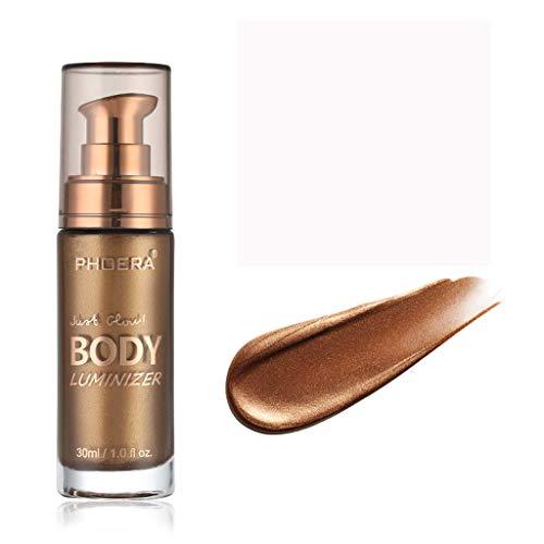 PHOERA Body Luminizer Make-up Creme Gesicht Körper Schimmer Make-up Flüssigkeit Aufhellen ,Make-up Cover Concealer Foundation Body Gesicht Körper Schimmer Flüssigkeit Flüssige (Glitzernde Bronze)