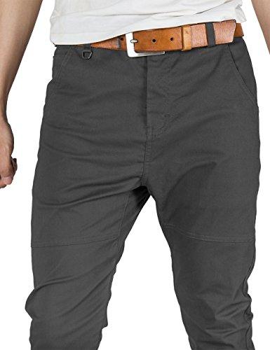 ITALY MORN Herren Chino Designer Hose Casual Stoff Hose Chinohose Jogginghose Slim Fit Dunkelgrau