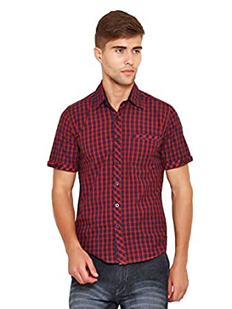 Wajbee Men's Casual Checkered Shirts