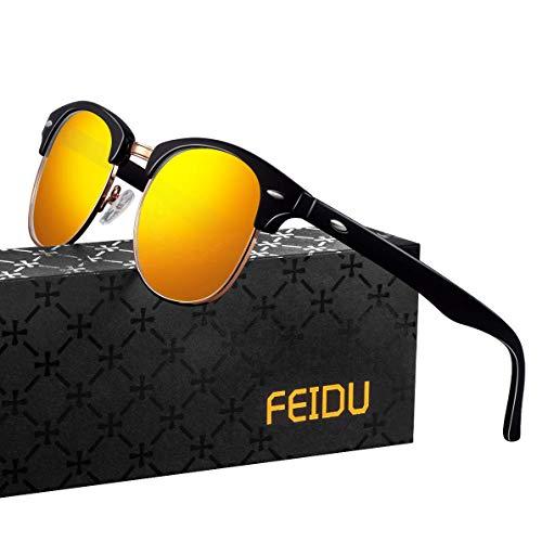 FEIDU Halbrahmen Polarisierte Klassische Metall Sonnenbrillen Herren-Retro Polarisierte Sonnenbrille Damen FD 3031 (orange, 2.04)