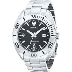 Swiss Eagle SE-9015-11 Mens Torpedo Silver Steel Bracelet Watch