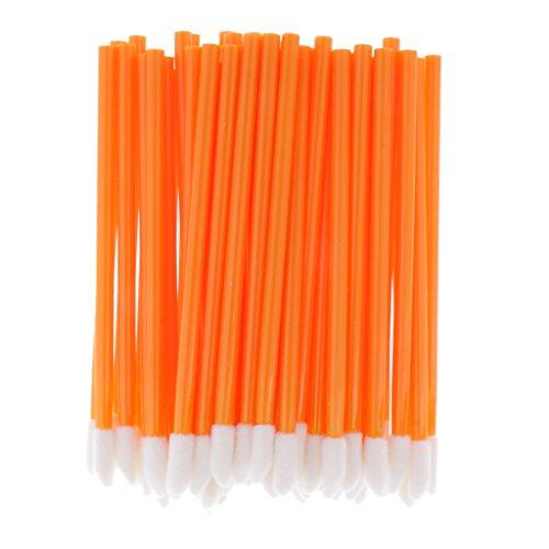 Sharplace 50x Brosses Pinceaux Jetables à Lip Gloss/Rouge à Lèvres Liquide - Outil de Maquillage - Orange