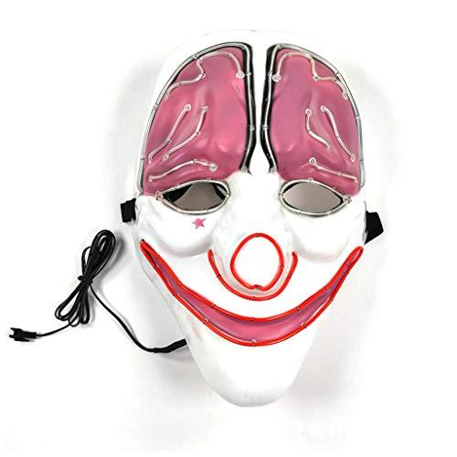 Domino Kostüm Cosplay - Gehirn Clown Halloween Leuchtende Maske, 3 Arten Von Flash-Modus EL Kaltes Licht Maske FüR Weihnachten Karneval KostüM Cosplay Domino