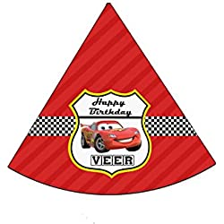 WoW Party Studio Personalized Disney McQueen Car Theme Birthday Party Hat With Birthday Boy/Girl Name (Pack of 10)