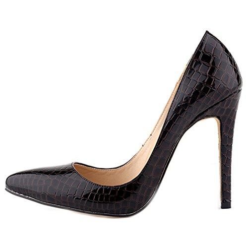 Oasap Femme Chic Chaussure A Talons Hauts Crocodile Pointu Talons Aiguilles Café