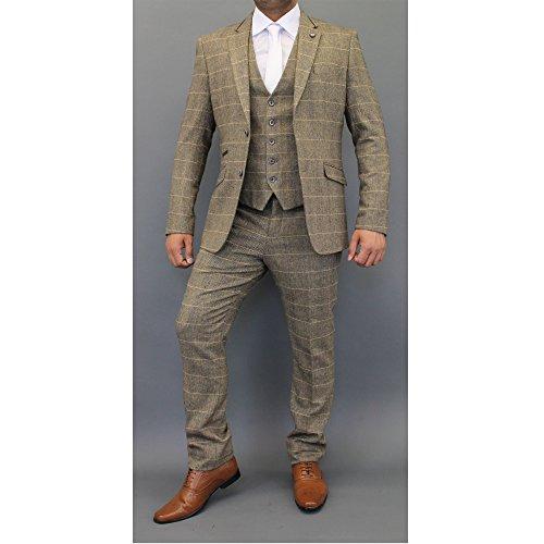 Herren Wollmischung Tweed kariert Blazers Weste Hose 3-tlg. Anzüge von Cavani - hellbraun - Albert, Chest 52