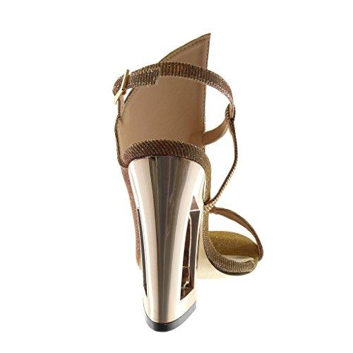 Angkorly Scarpe Moda Sandali Decollete con Tacco Peep-Toe Aperto Donna Lucide Paillette Tacco a Blocco Alto 11.5 cm Oro
