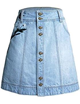 Baymate Mujeres Moda Una línea Jean Falda Alta Cintura Bordado Falda De Mezclilla