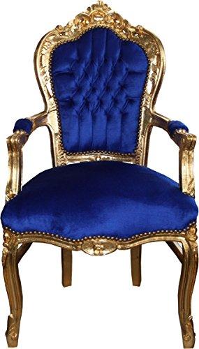Casa-Padrino Silla de Comedor Barroca Azul/Dorado con Reposabrazos - S