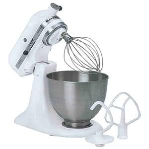KitchenAid 5K45SSEWH Küchenmaschine (250 Watt) weiß
