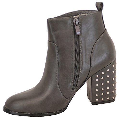 Stivali donna Donna Chelsea Cowboy motociclista scarpe tacco a blocco con plateau caviglia MILITARE Grigio - lb320