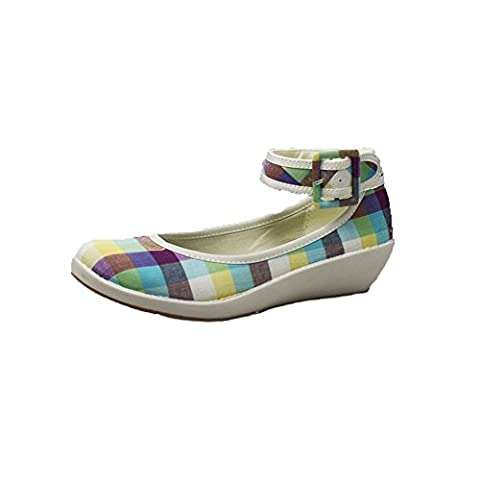 Blue checked Canvas low wedge shoes with ankle strap