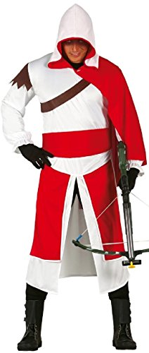Mens Red/White Assassin Warrior Ninja Game Stag Fancy Dress Costume Outfit Large (Medium)