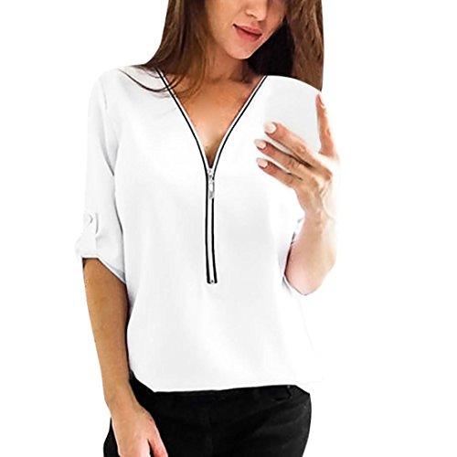 SHOBDW Neueste Womens Casual Tops Shirt Damen V-Ausschnitt Reißverschluss lose T-Shirt Bluse Tee Top (L, Weiß)
