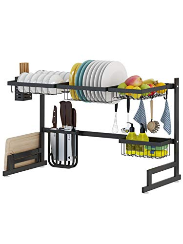 Schwarzer Edelstahl-Küchengeschirr-Abfluss-Gestell-Halter, Spülbecken-Countertop-Schüssel-Gestell-Geschirr-Trockenlagergestell (Spülbecken-geschirr-halter)