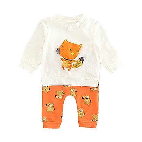 Pour 1-3 Ans BéBé Ensemble De VêTements,Kangrunmy BéBé Filles Garcons Chemise Et Pantalons Longue 3D Dessin Fox Imprimé Sweat Shirt MéLange De Coton (12 mois, Orange)