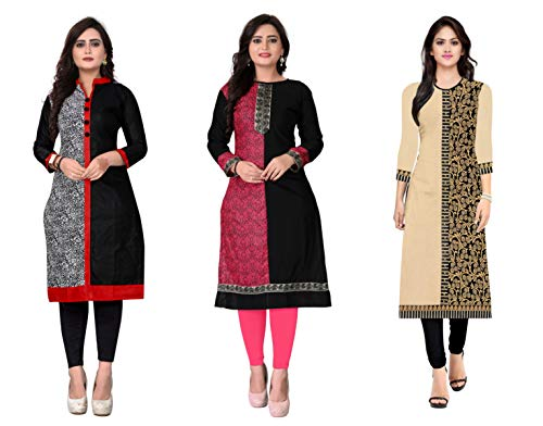 Kesari King Women's A-Line Pack Of 3 Cotton Printed Semi Stiched Kurti Material(1015,17,77)