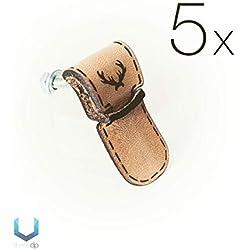 5X) Mangos de cuero genuino para bricolaje – ciervo [A6] – Exclusivo cajón de cuero tiradores de tornillo para carpetas, armarios y artículos hechos a mano, estilo vintage, estilo Shabby Chic
