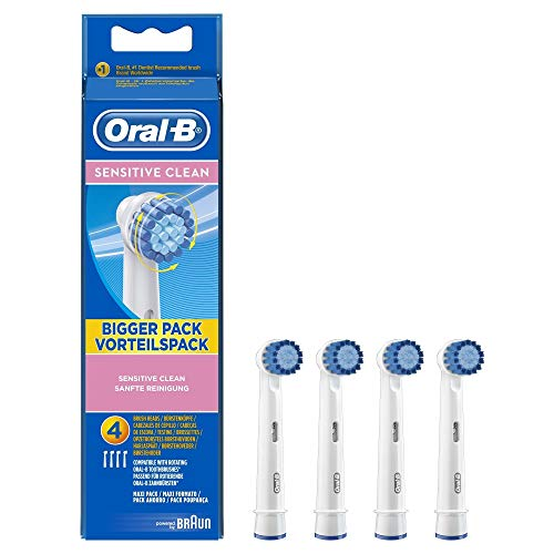 Oral-B Sensitive Aufsteckbürsten (Ersatzbürstenköpfe für elektrische Zahnbürsten, empfindliche Zähne, powered by Braun) 4 Stück