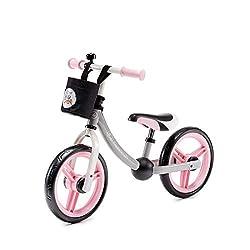 Kinderkraft Laufrad 2WAY NEXT Lernlaufrad Kinderlaufrad Lauflernrad für Kinder Baby Kinderrad mit Zubehör Klingel Tasche für Kleinigkeiten 12 Zoll ab 3 Jahre Rosa