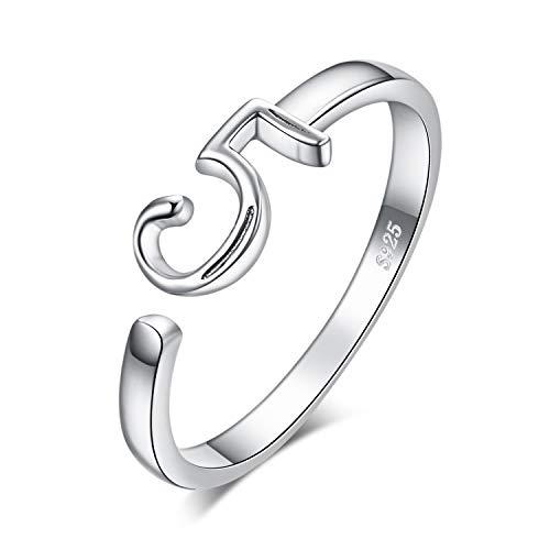 JewelryPalace Fortunato Numero 5 Anniversario di Nascita Regolabile Anello Aperto in Argento Sterling 925 (Anello Regolabile)