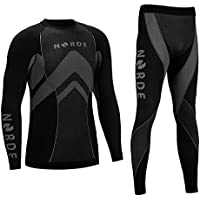 (Black/Grey, S) - THERMOTECH NORDE Functional Thermal Underwear Breathable Active Base Layer SET