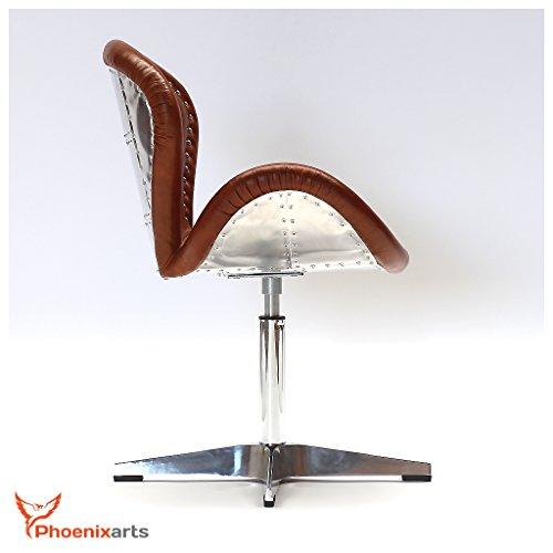 Phoenixarts Fauteuil en Cuir véritable Design Fauteuil en Cuir Marron Vintage Loft Fauteuil pivotant Fauteuil Lounge Club Meubles Neuf 537