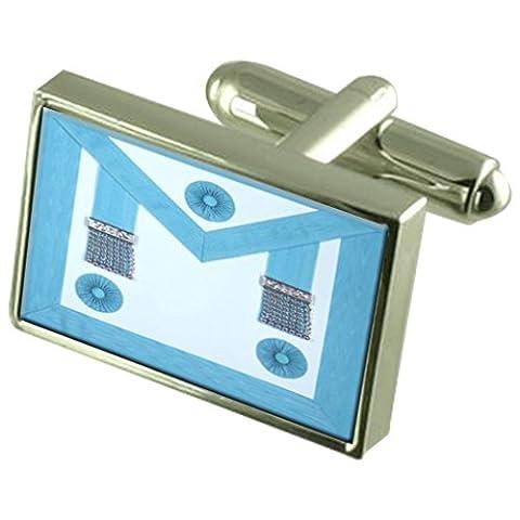 Masonic Handwerk Master Regalia Schürze Manschettenknöpfe Crystal Krawattenklammer Bar Box Set