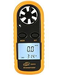 KOBWA LCD Digital Windgeschwindigkeit Anemometer Handwindmesser LCD Bildschirm und Thermometer für Windsurfen Segeln Wandern und Andere Aktivitäten Im Freien