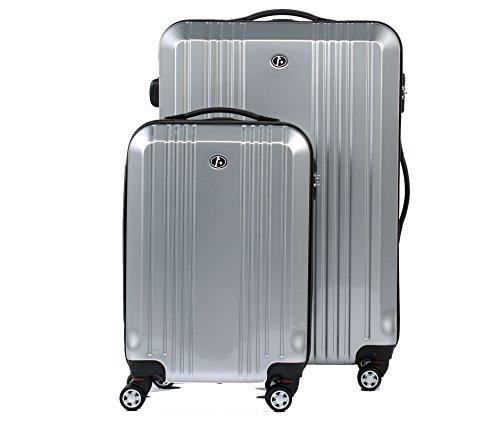 FERGÉ Zweier Kofferset CANNES Handgepäck & Koffer XL Hartschale | 2 Trolley-Hartschalenkoffer 4 Zwillingsrollen (360°) | Koffer silber glänzend |...