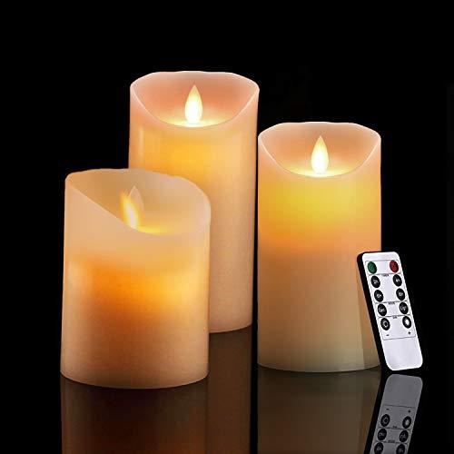 LED Kerzen Flammenlose Kerzen mit Beweglicher Flamme, Realistisch Flackern LED-Flammen Echtwachskerzen 10-Tasten Fernbedienung mit 24 Stunden Timer-Funktion für Innen & Außen Dekoration - 3er Pack