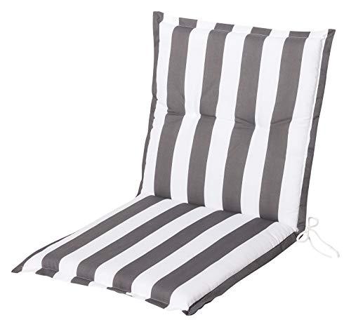 Schwar Textilien Stuhlauflage Niedriglehner Auflage Sitzauflage Gartenstuhlauflage Streifen 3 Farben (Grau Weiss)
