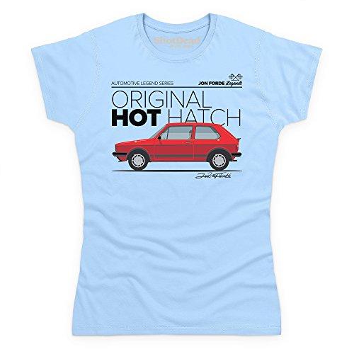 Jon Forde Original Hot Hatch T-Shirt, Damen Himmelblau