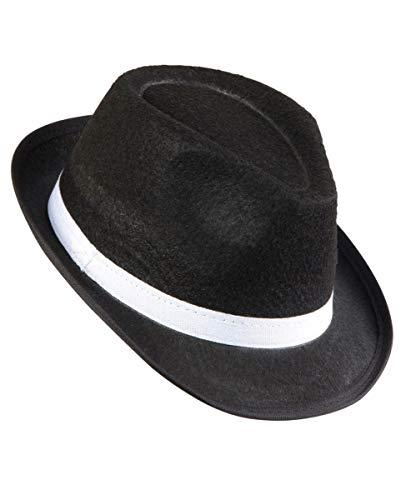 Kostüm Hat Pate - Horror-Shop Mafiosi Hut mit weißem Hutband für Karneval, Fasching und die 20er Jahre Motto Party