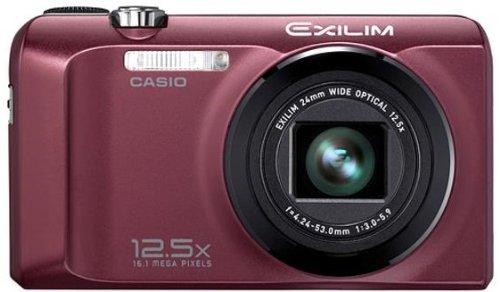 Casio Exilim EX-H30 Digitalkamera (16 Megapixel, 12,5-fach opt. Zoom, 7,6 cm (3 Zoll) Display, Akku für bis zu 1.000 Fotos, bildstabilisiert) bordeaux -