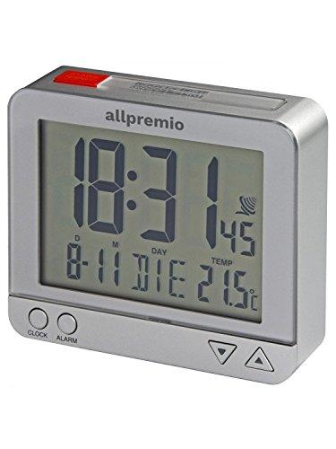 allpremio Funkwecker Digital, Kompakter Funk Uhr Wecker, Silber