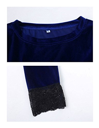 Bestgift Damen Spitze Samt Knielanges Kleider Bleistiftkleid Cocktailkleid Abendkleid Festkleid Rot 1
