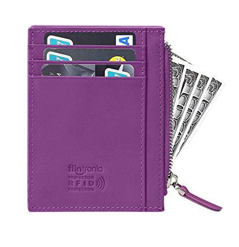 flintronic Portefeuille en Cuir, Violet Etui RFID Blocage Porte Carte de Crédit, Zip Porte-Monnaie (#5 Violet Zip)