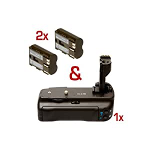 Battery Pack Grip & 2 Rechargeable Batteries for Canon EOS 50D, 40D, 30D like BG-E2N, BP-511a with Original Quality!
