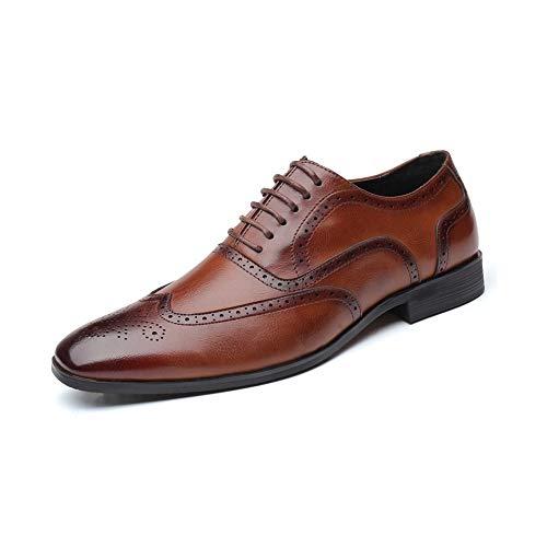 CATEER Schnüren Sie Sich Oben niedrige Ferse Oxfords Weinlese Brogues Schuhe Gummisohle formales braunes Leder Bequeme Größe 6-49 (Farbe : Braun, Größe : 41EU) -