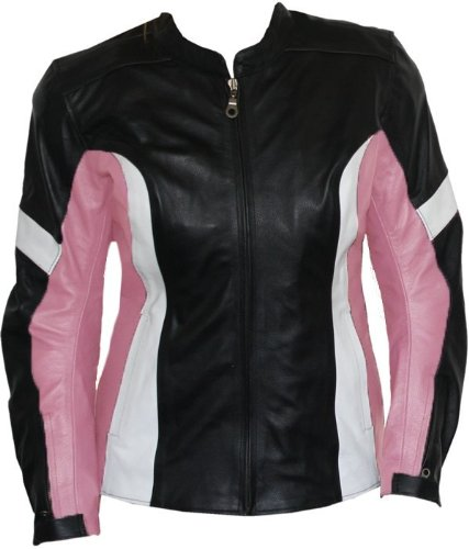 Damen Lederjacke Motorradjacke aus Rindsleder Kombijacke Schwarz/Pink, Größe:2XL