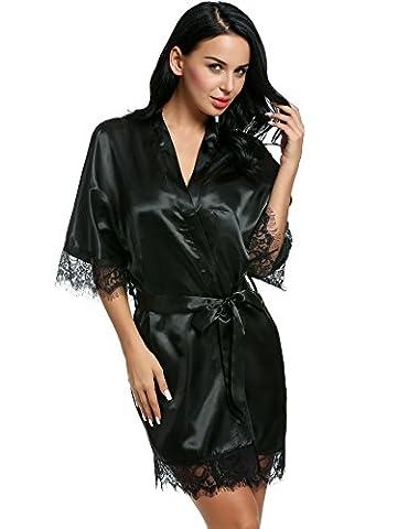 CRAVOG Femme Sexy Robe de Chambre Kimono Dentelle Chemise de