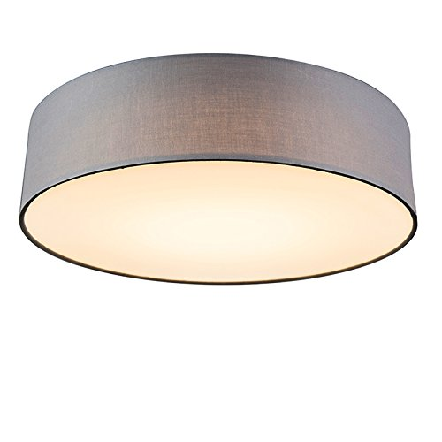 QAZQA Modern Deckenleuchte/Deckenlampe/Lampe/Leuchte Drum mit Schirm LED 40 grau/Innenbeleuchtung/Wohnzimmerlampe/Schlafzimmer/Küche Textil/Stahl Rund LED geeignet Max. 1 x 20 Watt