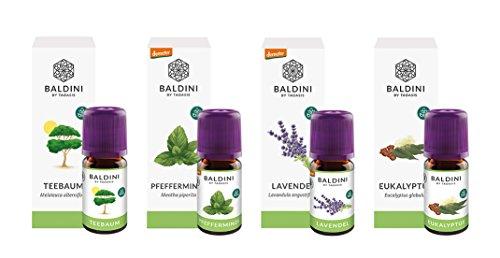 Baldini - Aromatherapie Bio Öle Hausapotheke: Eukalyptusöl, Lavendelöl, Pfefferminzöl, Teebaumöl, je 5 ml, 100{3aca3a0faea22048fb0786e97a7e99ac66549854388815e545735da08cae6f34} naturreines ätherisches BIO Öl, Set
