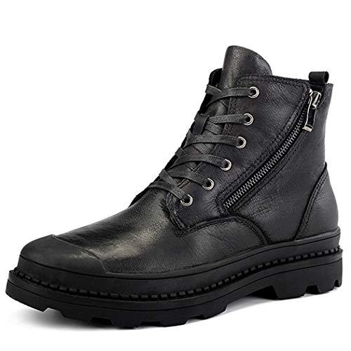 DANYCU Stivali di Pelle Casual Martin Stivali Invernali Vintage Bootie Uomo Combat Boots Moda Stivaletti da Esterno Cerniera Laterale Hiking Boots per l'uso Quotidiano,Nero,43EU