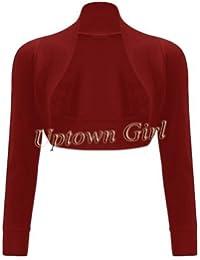 Up Town - Suéter para mujer bolero manga larga crochet cardigan top